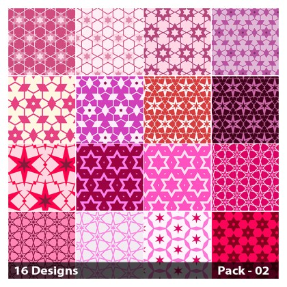16 Pink Seamless Star Pattern Vector Pack 02