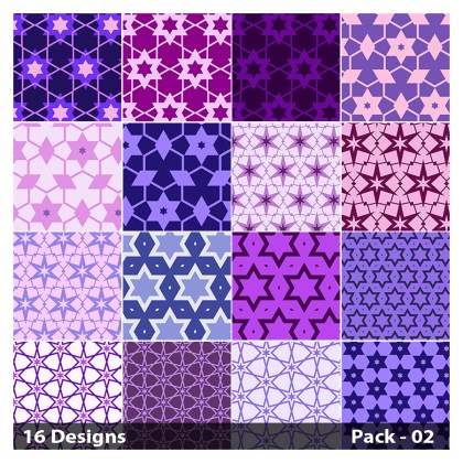 16 Purple Seamless Star Pattern Vector Pack 02