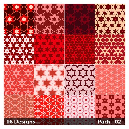 16 Red Seamless Star Pattern Vector Pack 02