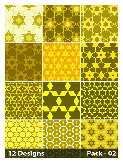 12 Yellow Seamless Star Pattern Vector Pack 02