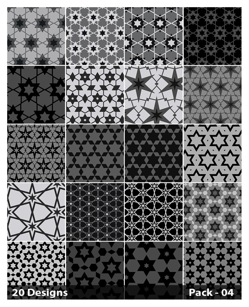 20 Black Star Background Pattern Vector Pack 04