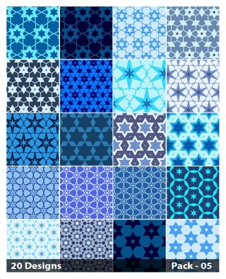 20 Blue Seamless Star Pattern Background Vector Pack 05