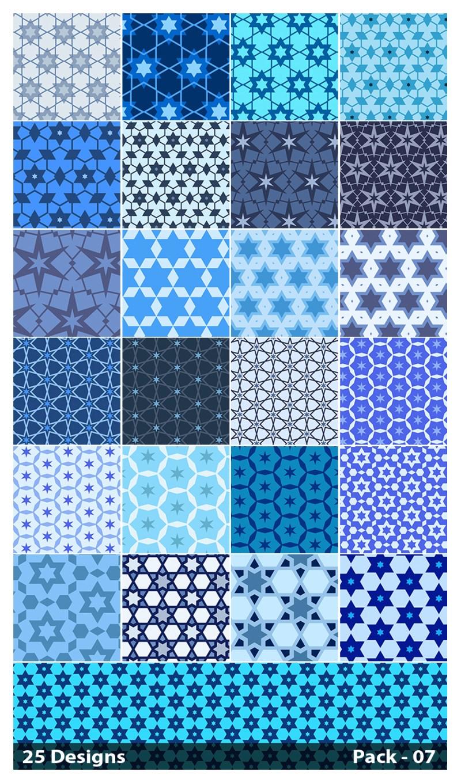 25 Blue Star Pattern Vector Pack 07