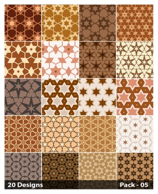 20 Brown Seamless Star Pattern Background Vector Pack 05