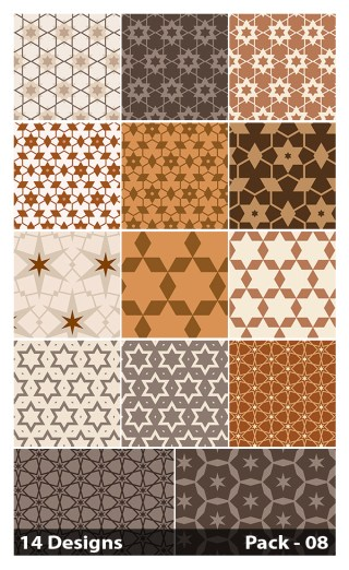 14 Brown Seamless Star Pattern Vector Pack 08