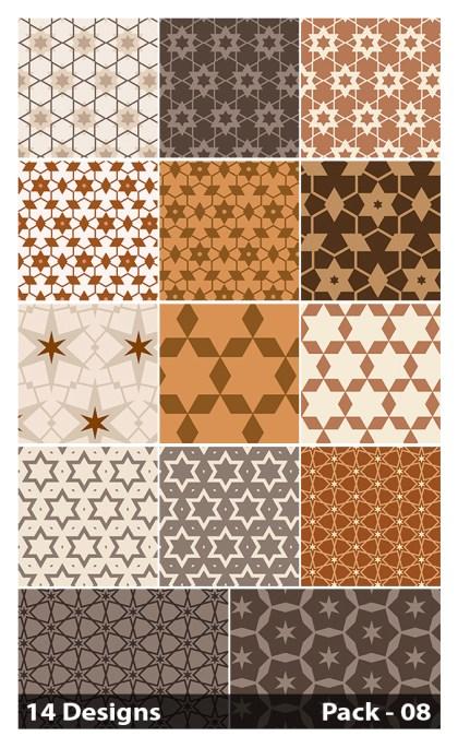 14 Brown Seamless Star Pattern Vector Pack 08