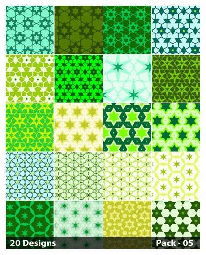 20 Green Seamless Star Pattern Background Vector Pack 05