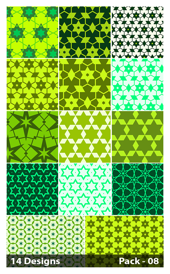 14 Green Seamless Star Pattern Vector Pack 08