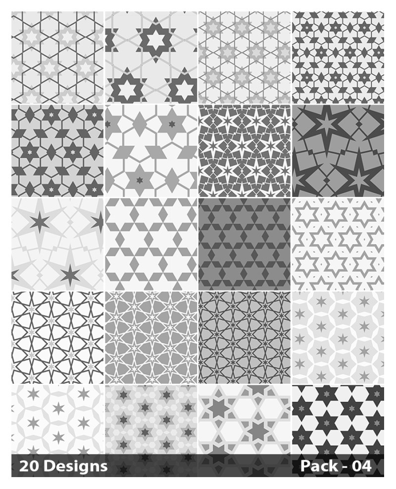 20 Grey Star Background Pattern Vector Pack 04
