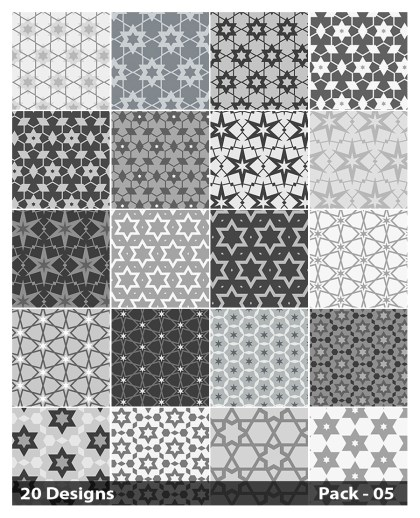 20 Grey Seamless Star Pattern Background Vector Pack 05