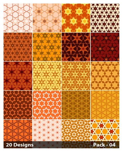 20 Orange Star Background Pattern Vector Pack 04