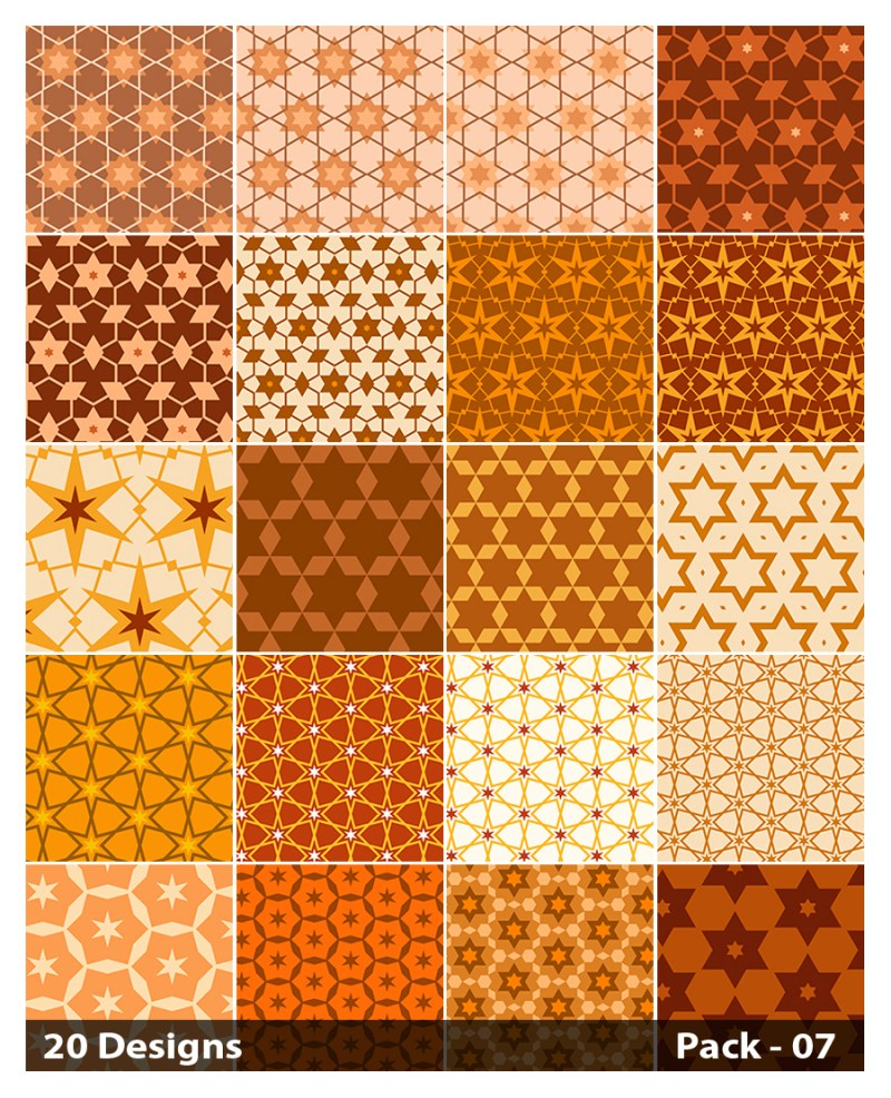 20 Orange Star Pattern Vector Pack 07