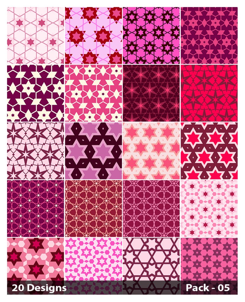 20 Pink Seamless Star Pattern Background Vector Pack 05