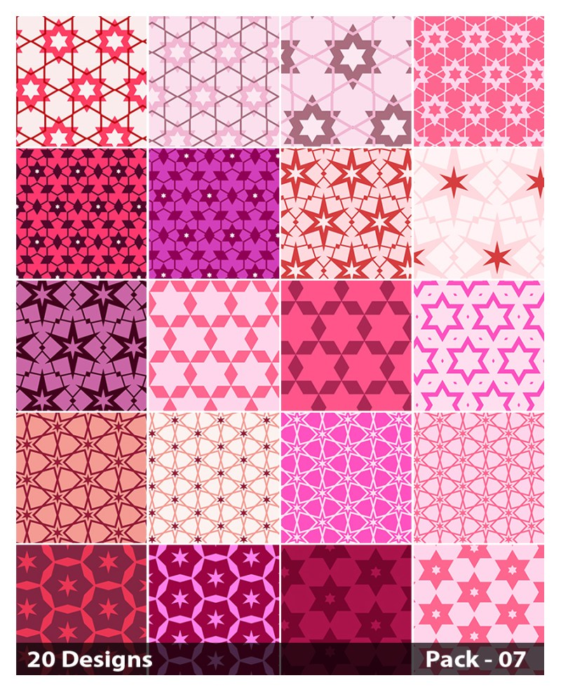20 Pink Star Pattern Vector Pack 07