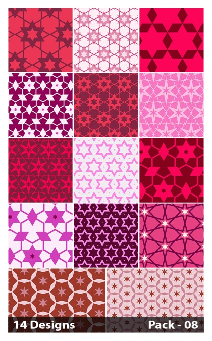 14 Pink Seamless Star Pattern Vector Pack 08
