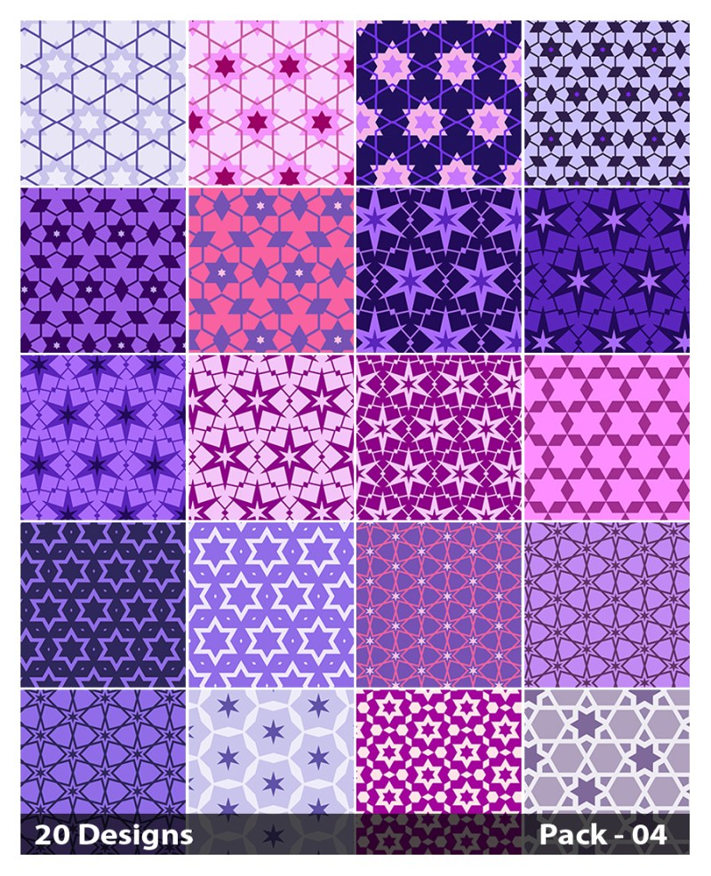 20 Purple Star Background Pattern Vector Pack 04