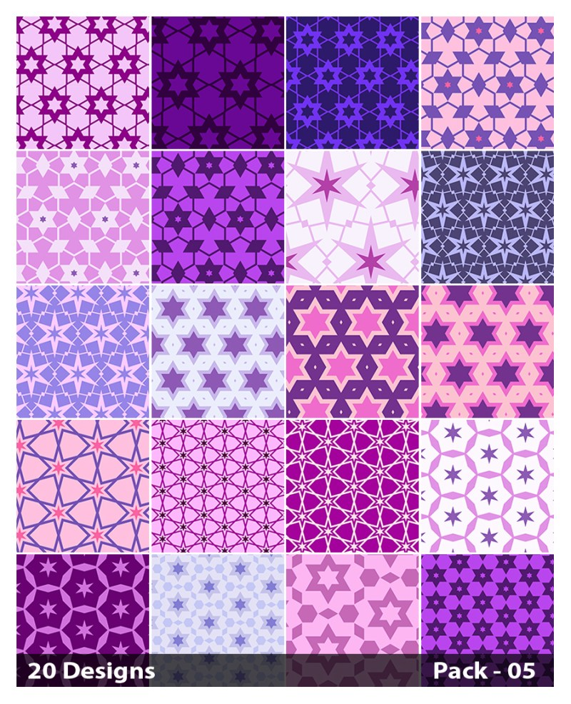 20 Purple Seamless Star Pattern Background Vector Pack 05