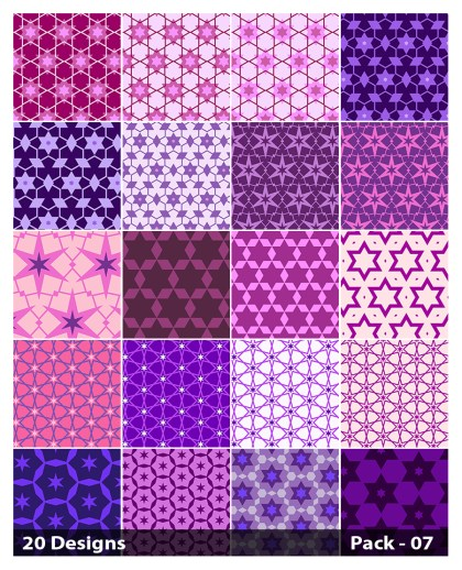 20 Purple Star Pattern Vector Pack 07
