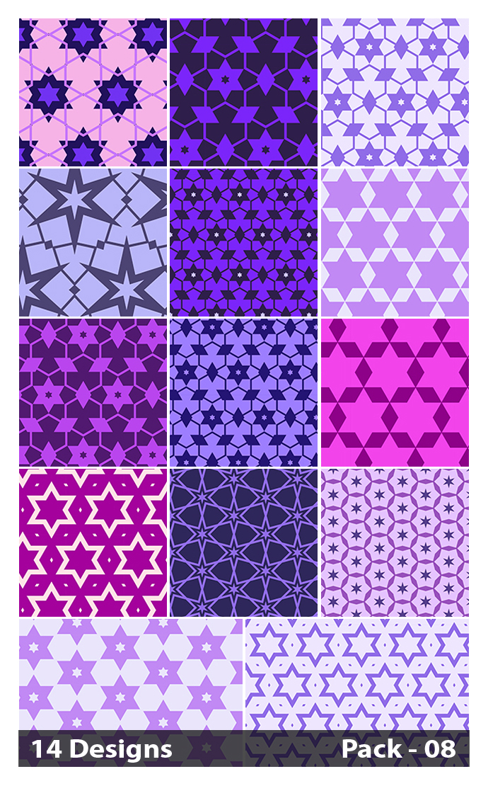 14 Purple Seamless Star Pattern Vector Pack 08