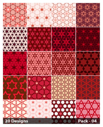 20 Red Star Background Pattern Vector Pack 04