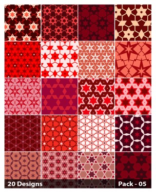 20 Red Seamless Star Pattern Background Vector Pack 05
