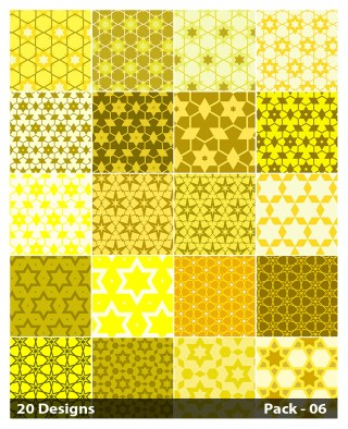 20 Yellow Seamless Star Background Pattern Vector Pack 06