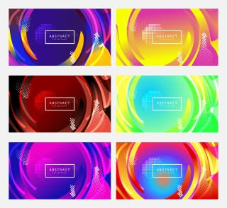 6 Gradient Fluid Shapes Background Vector Pack