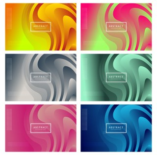 6 Gradient Liquid Shapes Background Vector Pack
