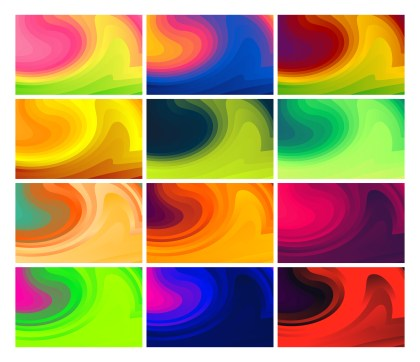 12 Fluid Gradient Shapes Futuristic Design Background Vector Pack