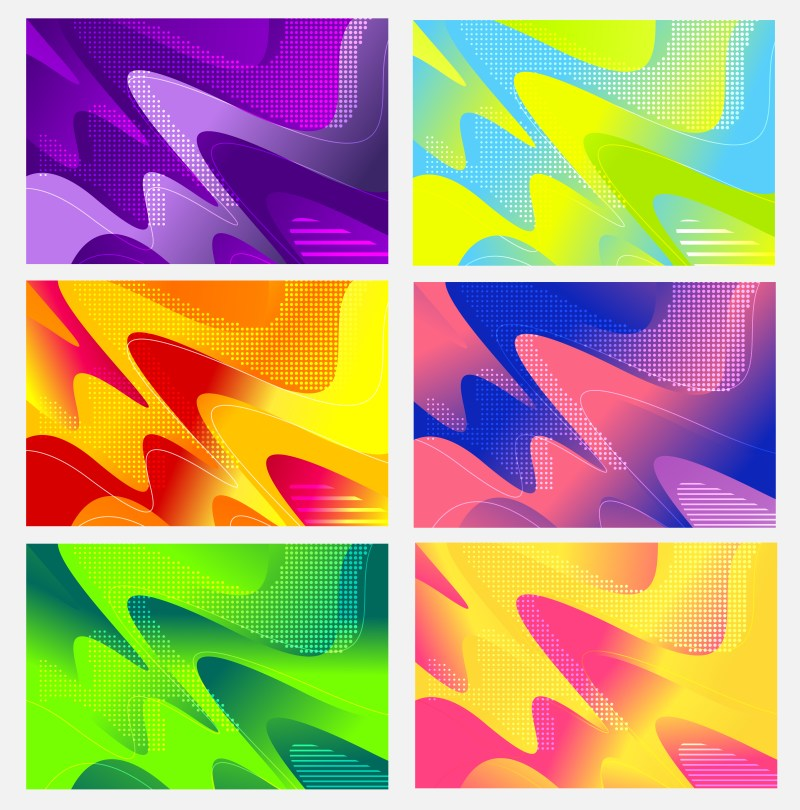 6 Abstract Modern Liquid Color Wavy Background Vector Pack