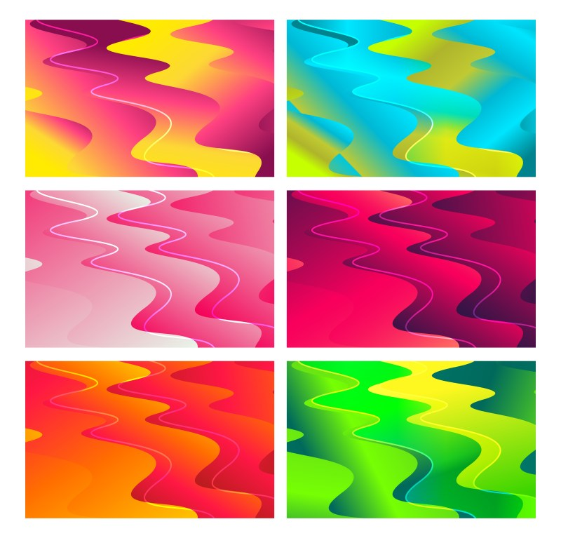 6 Liquid Wavy Shapes Composition Background Vector Pack