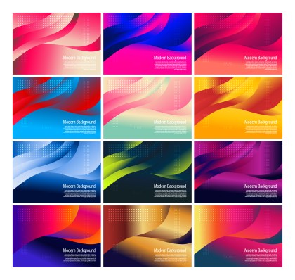 12 Wavy Fluid Gradient Color Background Vector Pack