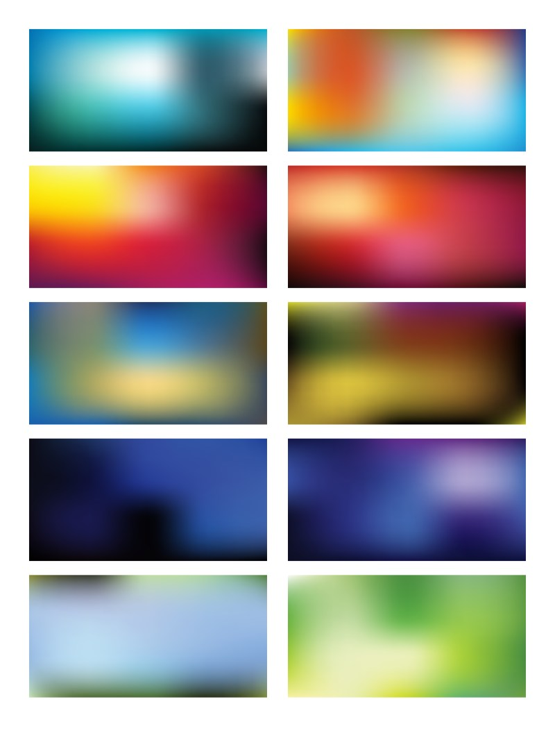 Abstract Colorful Blurred Gradient Mesh Background Set 81