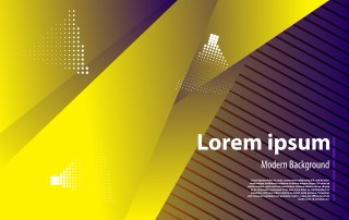 Abstract Purple and Yellow Fluid Color Geometric Background Vector