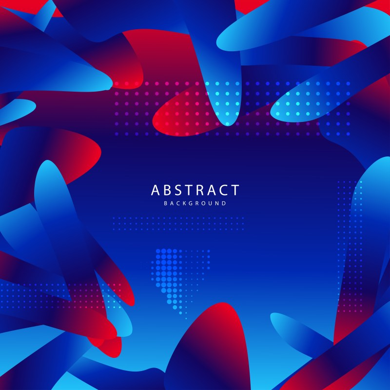 Abstract Red and Blue Fluid Gradient Shapes Futuristic Design Background Vector