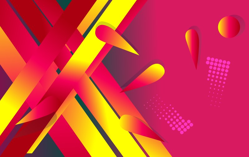 Abstract Pink Red and Yellow Fluid Gradient Shapes Futuristic Design Background Vector