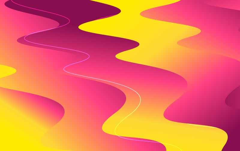 Abstract Purple and Yellow Liquid Color Wavy Background Illustrator