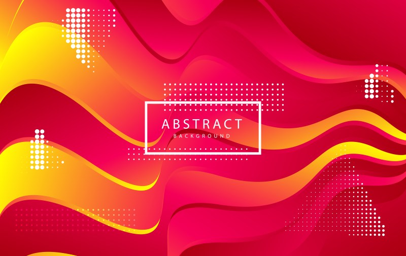Abstract Modern Pink Red and Yellow Wavy Fluid Liquid Color Background Vector Illustration