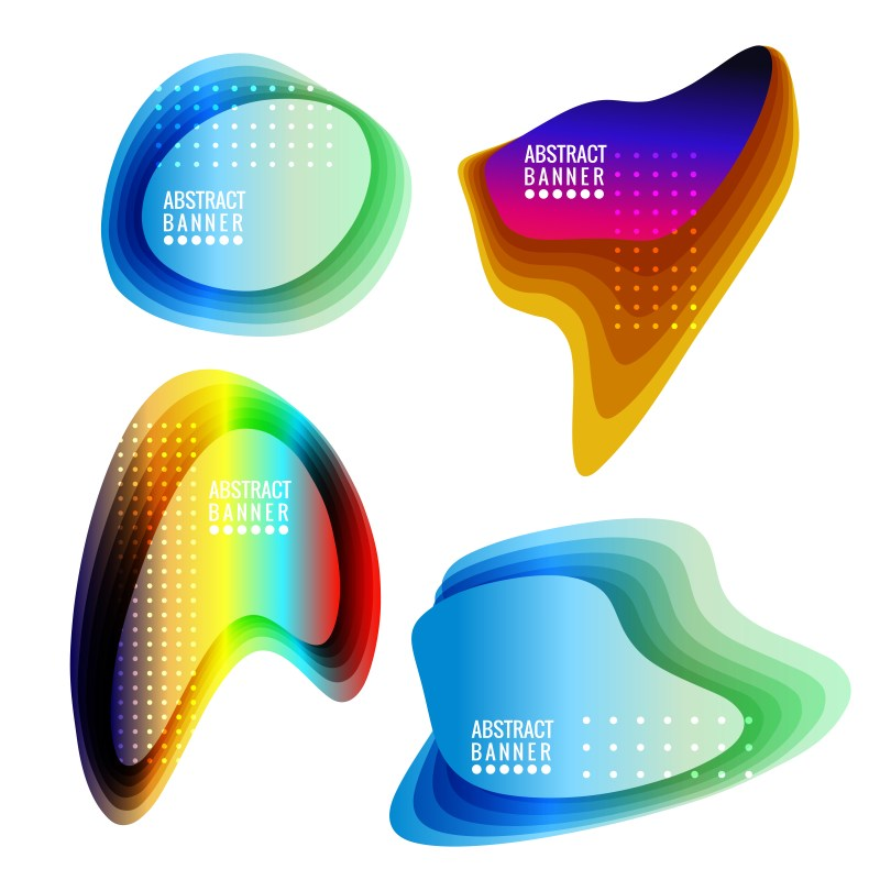 Abstract Colorful Liquid Shapes Banners Vector Art