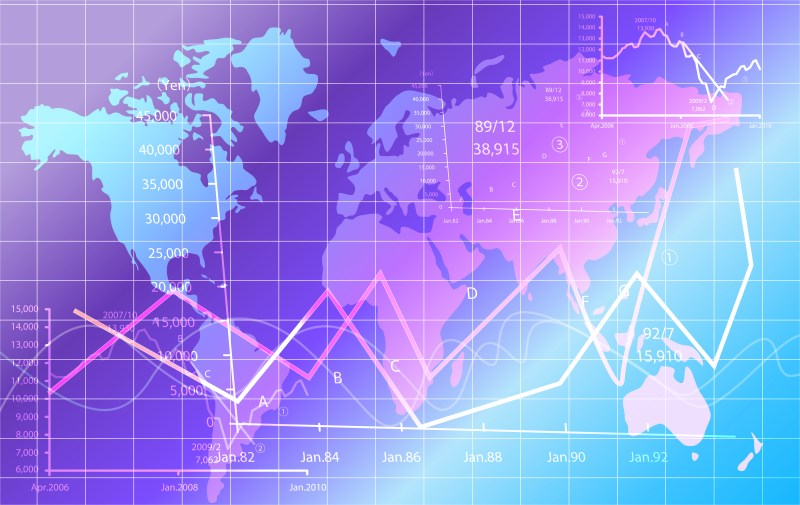 Blue and Purple World Map Abstract Background