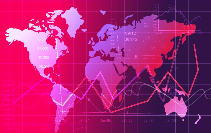 Pink and Purple World Map Abstract Background