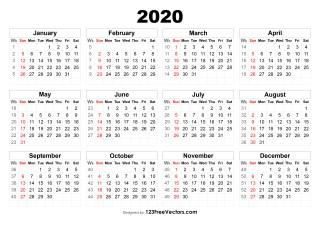 Calendario 2019 Week Number.210 2020 Calendar Vectors Download Free Vector Art
