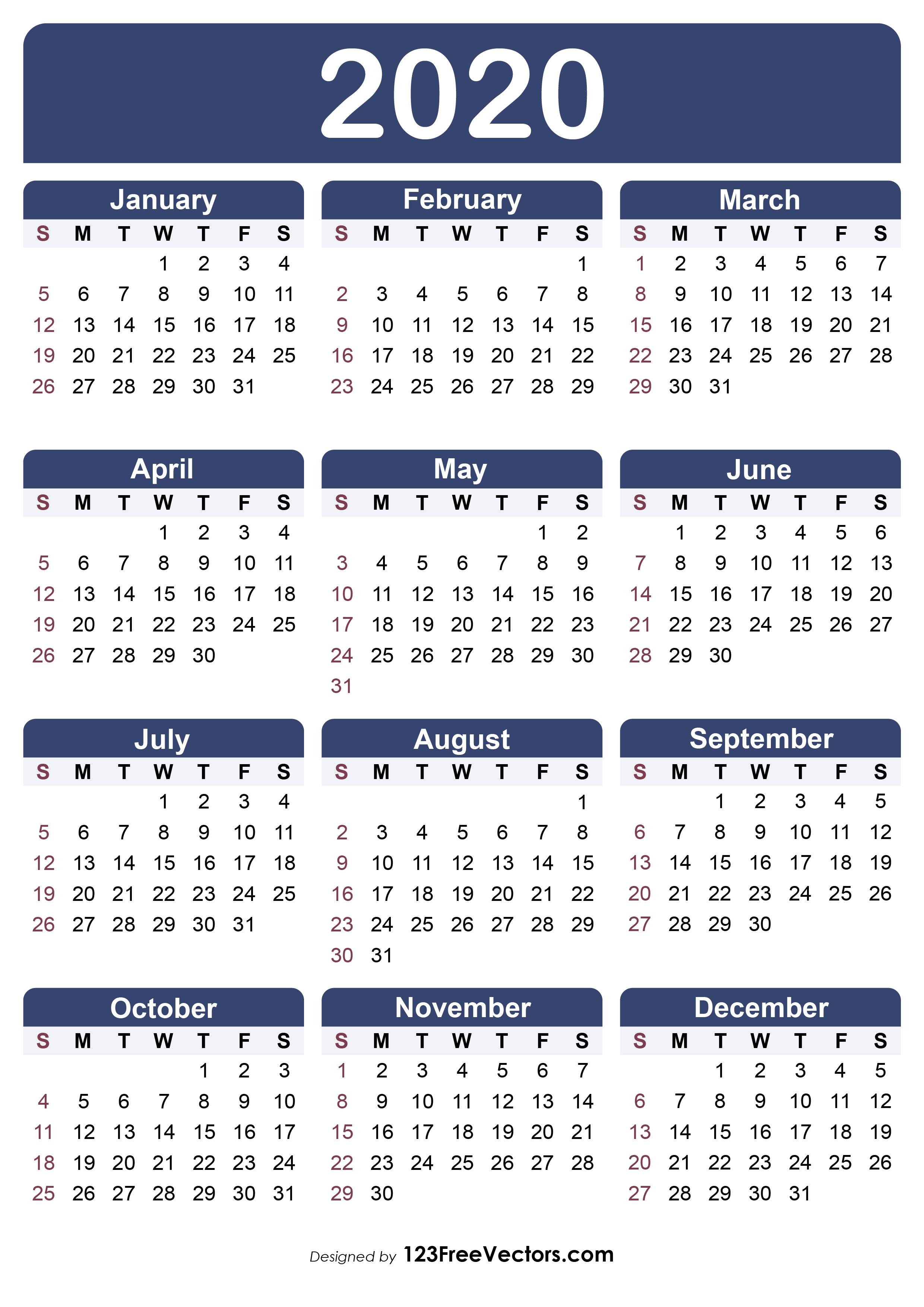 210 2020 Calendar Vectors Download Free Vector Art