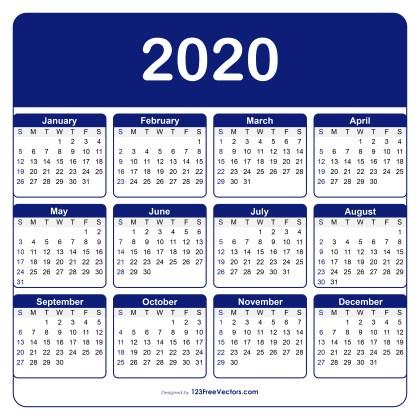Adobe Illustrator Calendar Template 2020