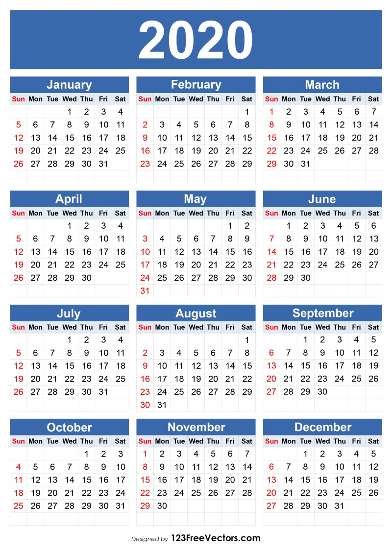 Free 2020 Calendar Template