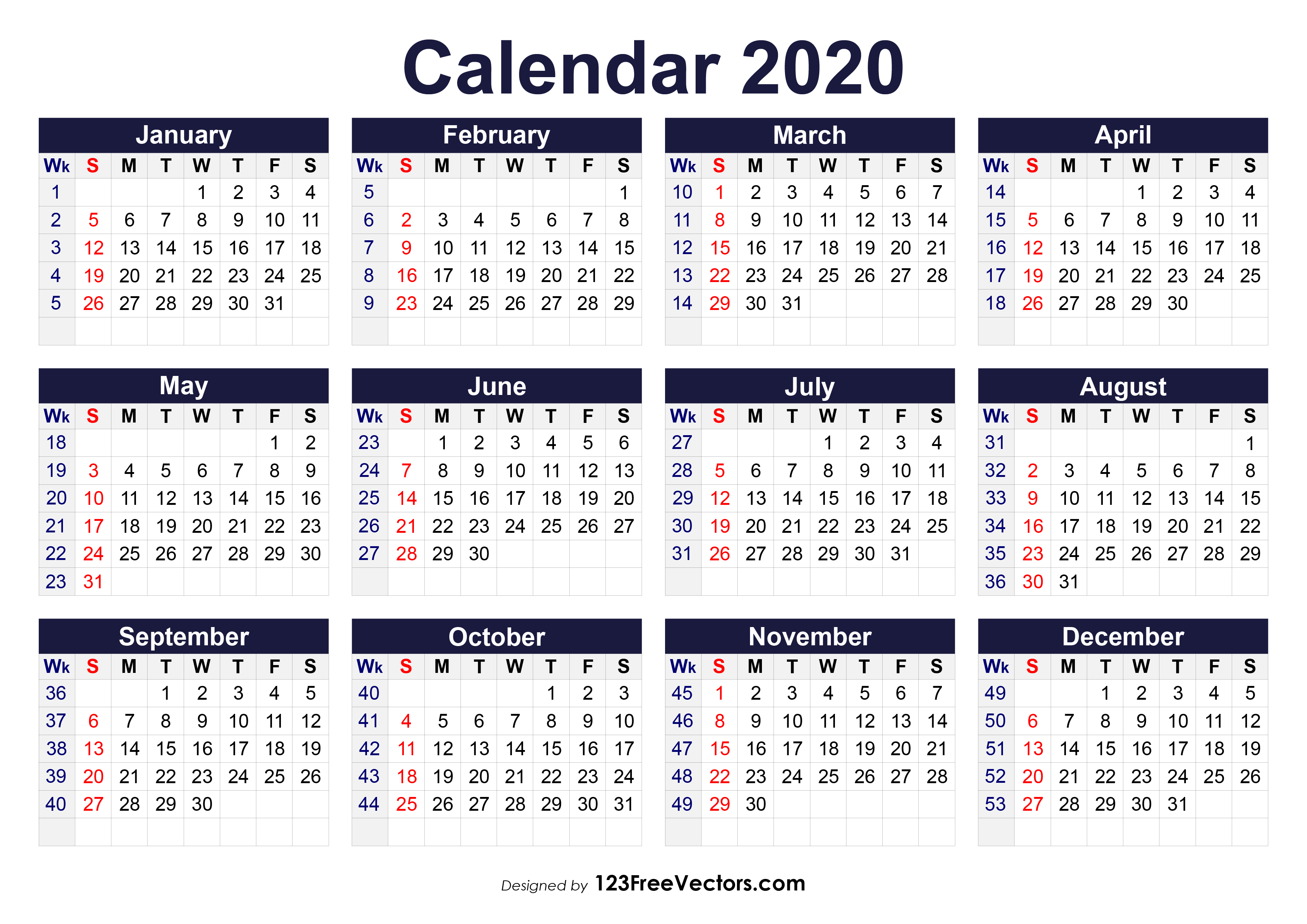 image about 2020 Calendar Printable Pdf referred to as 210+ 2020 Calendar Vectors Obtain Free of charge Vector Artwork