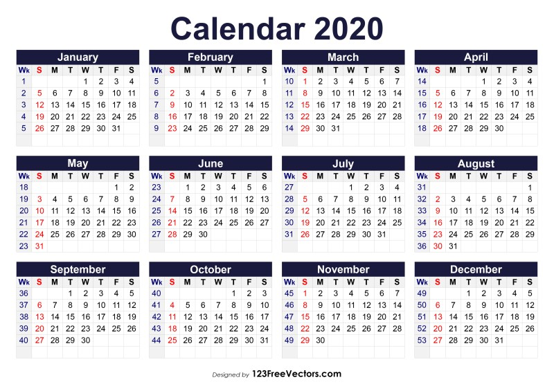 Printable 2020 Calendar with Week Numbers