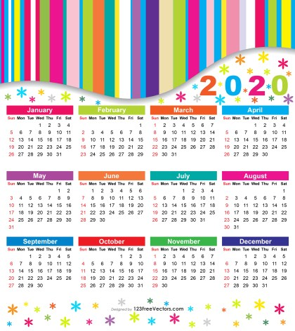 Free 2020 Colorful Calendar