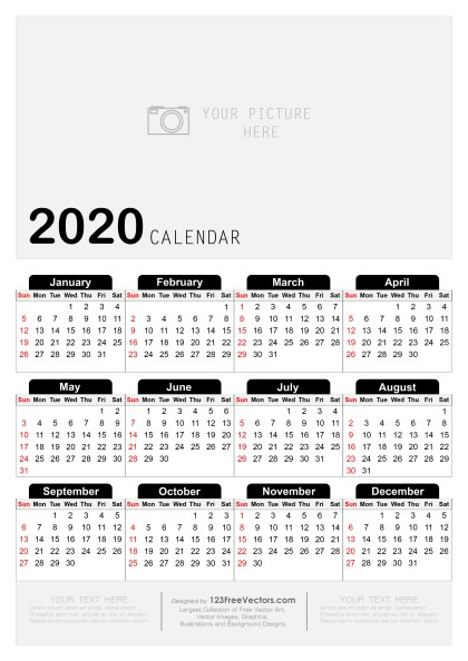 Free Printable Yearly Calendar 2020