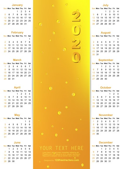 Vector Golden Calendar 2020